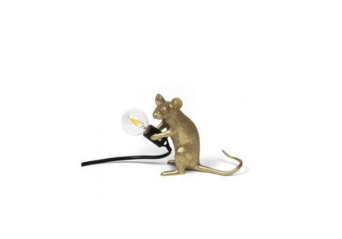 Seletti Mouse Lamp Sitting - Goud