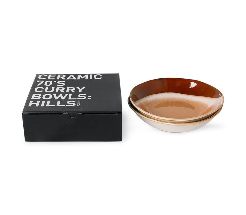 Ceramic 70's Curry bowls (set of 2)