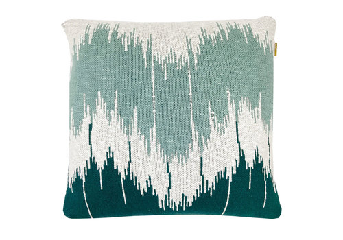 Malagoon Wave Knitted Kussen Groen