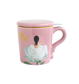 Or Tea? Pink Mug 300ml mug with stainless steel filter