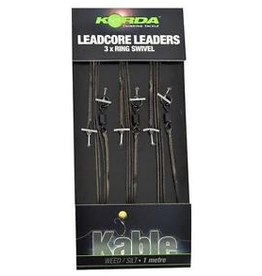 KORDA Leadcore leader Ring Swivel Weed/Silt, 3 per pack
