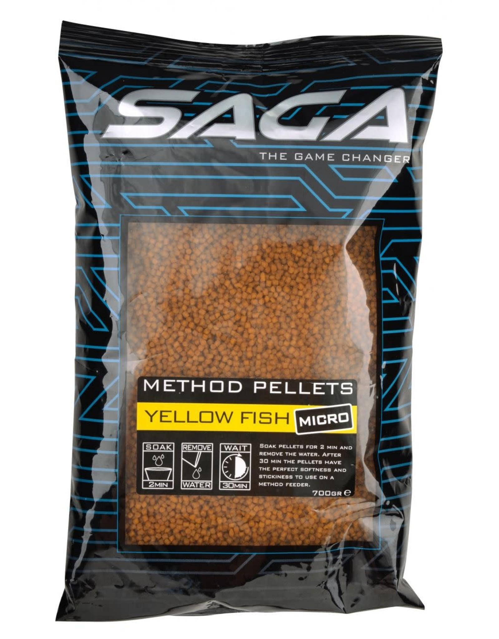 SAGA METHOD PELLETS YELLOW FISH MICRO 2MM 700G
