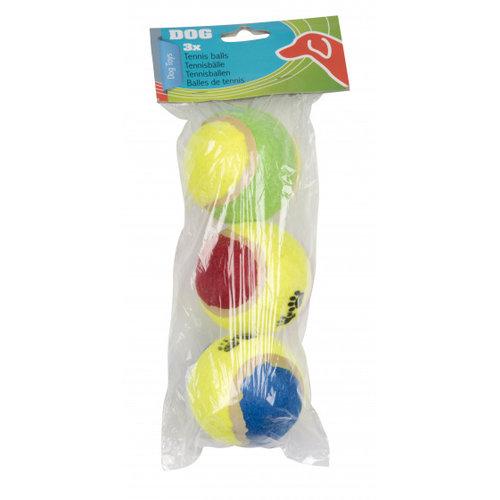TOM TOM honden tennisbal 6 cm rubber/katoen geel 3 stuks