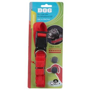 TOM TOM hondenhalsband led 60 cm nylon groen of rood