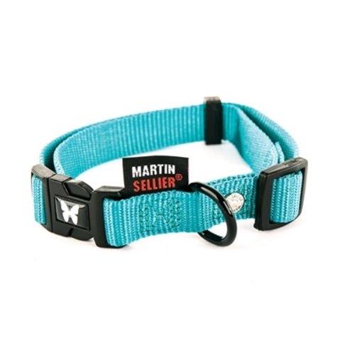 Martin sellier Martin sellier halsband nylon turquoise verstelbaar