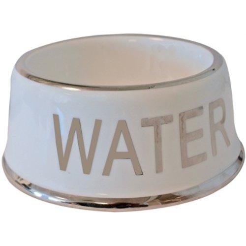 Merkloos Drinkbak hond water wit/zilver