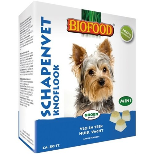 Biofood Biofood schapenvet mini bonbons knoflook