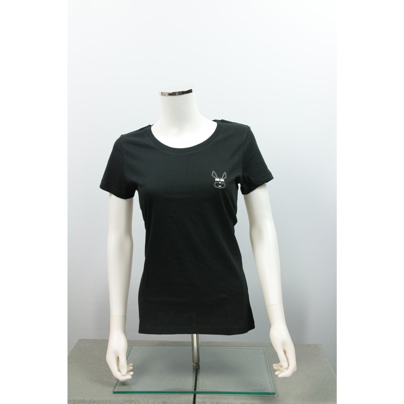 The Cool Rabbit Essentials Gentle Rose Black T-shirt Ladies