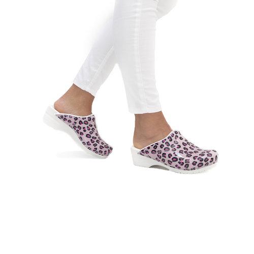 Sanita klompen Flex model 314 Wildlife Leopard roze-nature 8680