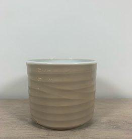 We Love Houseplants Cylinder wavy cream pot
