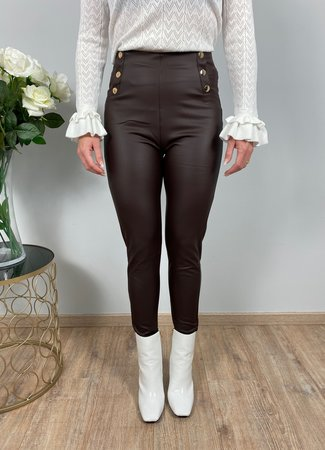 by.AMELLE Leatherlook Legging Riley Coffee