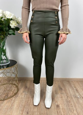 by.AMELLE Leatherlook Legging Riley Green