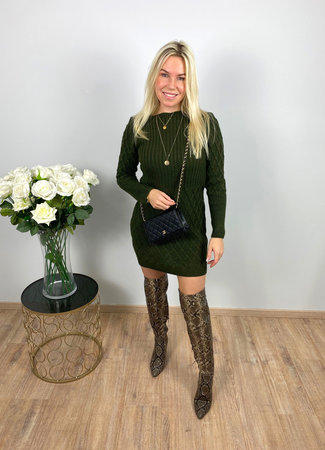 by.AMELLE Sweater Dress Daisy Green