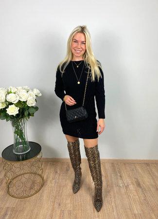 by.AMELLE Sweater Dress Daisy Black