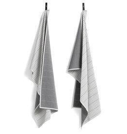 HAY HAY GRID Tea Towel - 2 pcs - Grey