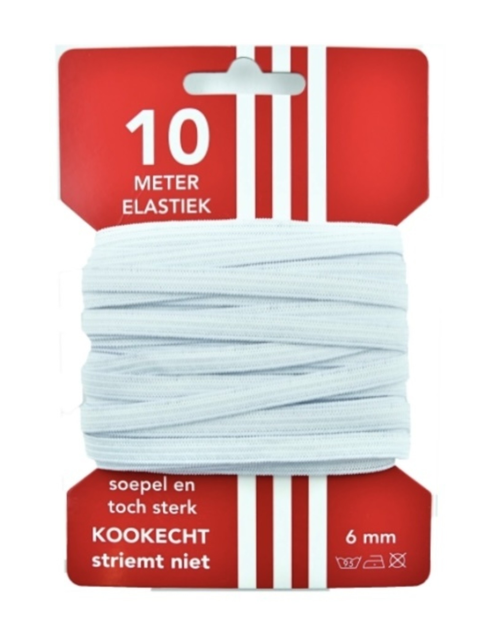 10 m kaart elastiek wit 6mm