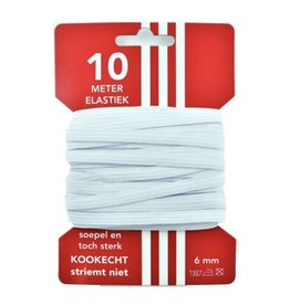 10 m karte elastisch Weiß 6mm
