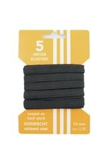 5 m kaart elastiek zwart 10 mm