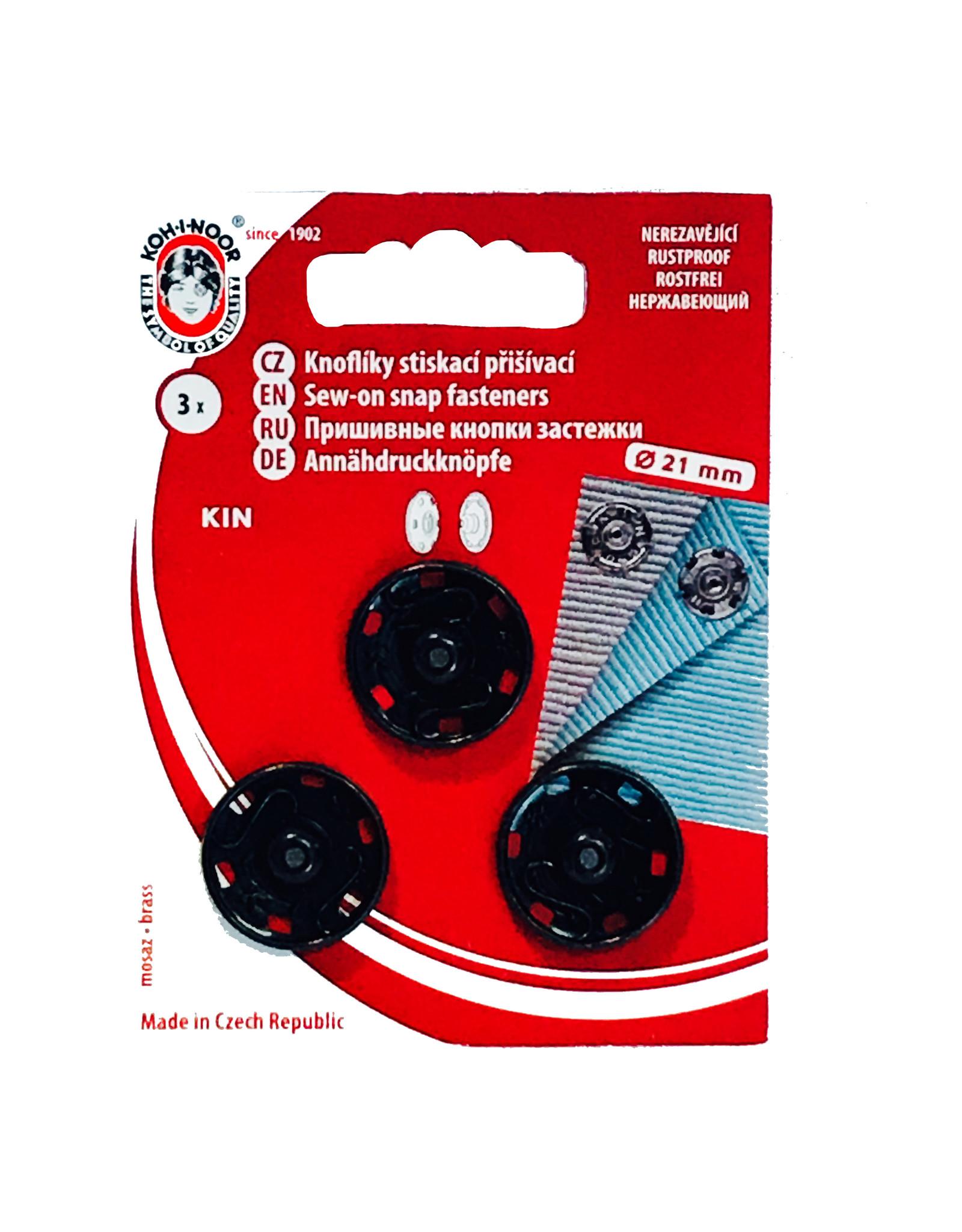 Aannaaibare drukknopen 21 mm Zwart