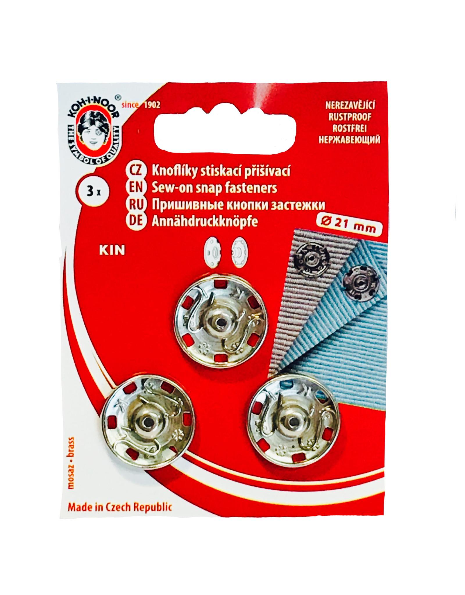Aannaaibare drukknopen 21 mm silver