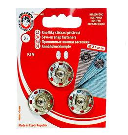 Sew On press studs 21 mm silver