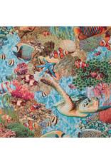 B&B Fabrics Gobelin Premium - Tropical Sealife aqua