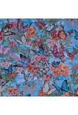 B&B Fabrics Gobelin Premium - Nature flowers aqua