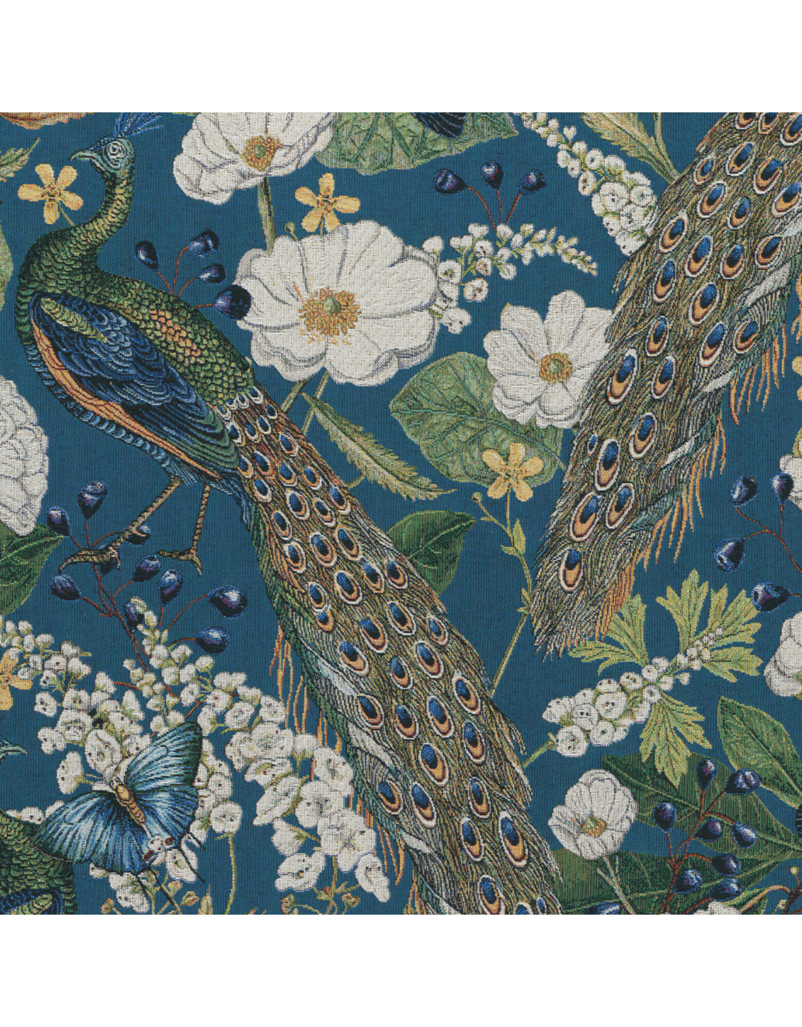 B&B Fabrics Gobelin Premium - Peacocks butterfly petrol