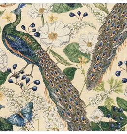 B&B Fabrics Gobelin Premium - Peacocks butterfly Beige