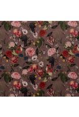 Nobodeco Home Fluweel stof Bloemen Donkerroze