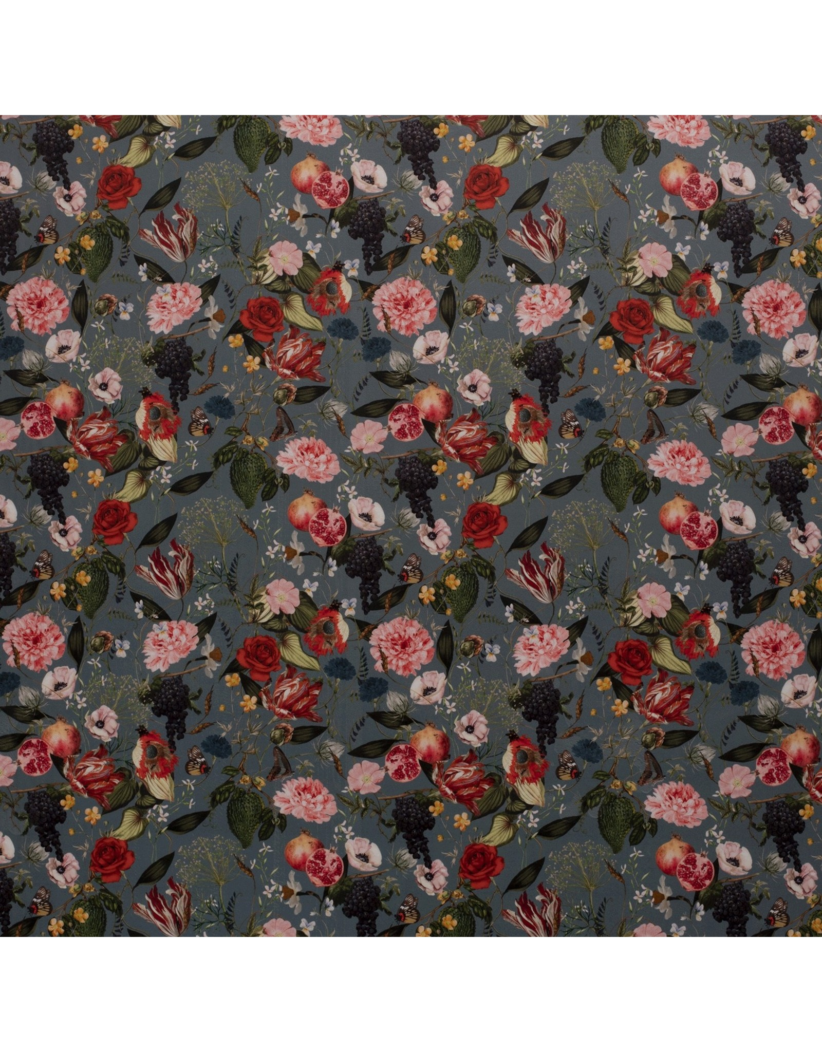 Nobodeco Home Samt stoff Blumen Indigo