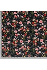 Nobodeco Home Samt stoff Blumen Navy