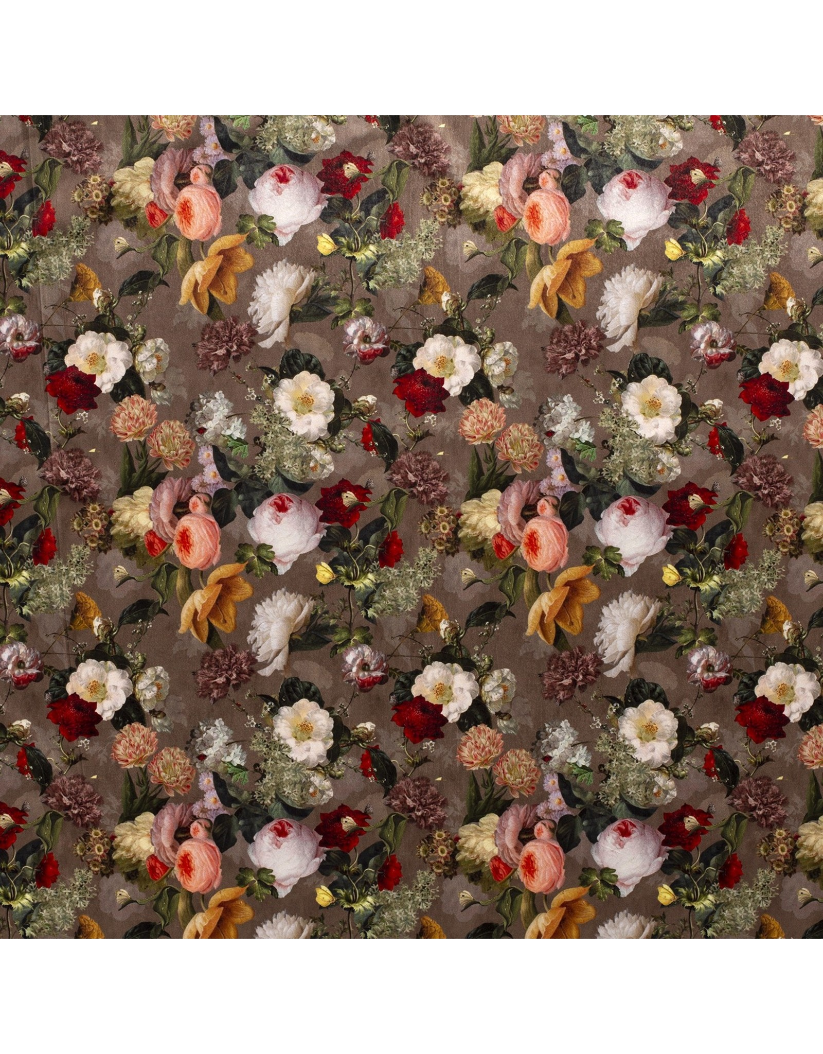 Nobodeco Home Fluweel stof Digitaal Bedrukt Bloemen bruin