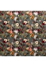Nobodeco Home Fluweel stof Digitaal Bedrukt Bloemen Mint