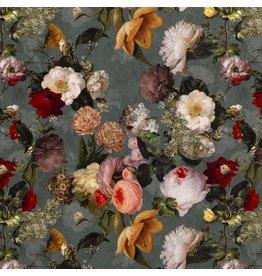 Nobodeco Home Velvet fabric Digital Printed flowers Mint