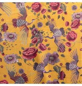 Nobodeco Home Velvet fabric Flowers Ocre