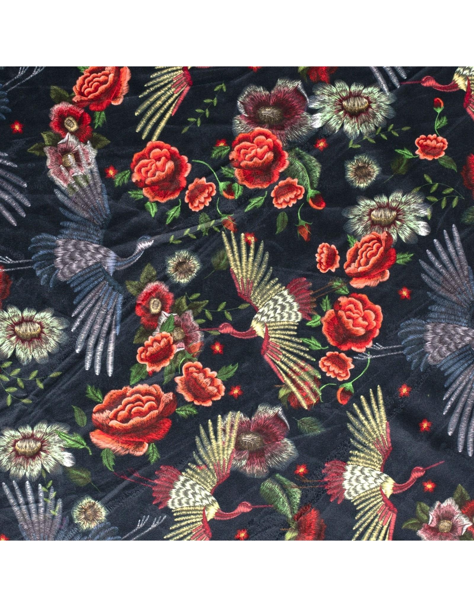 Nobodeco Home Samt stoff Blumen Schwarz