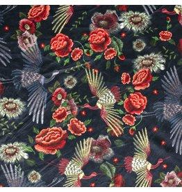 Nobodeco Home Velvet fabric Flowers Black