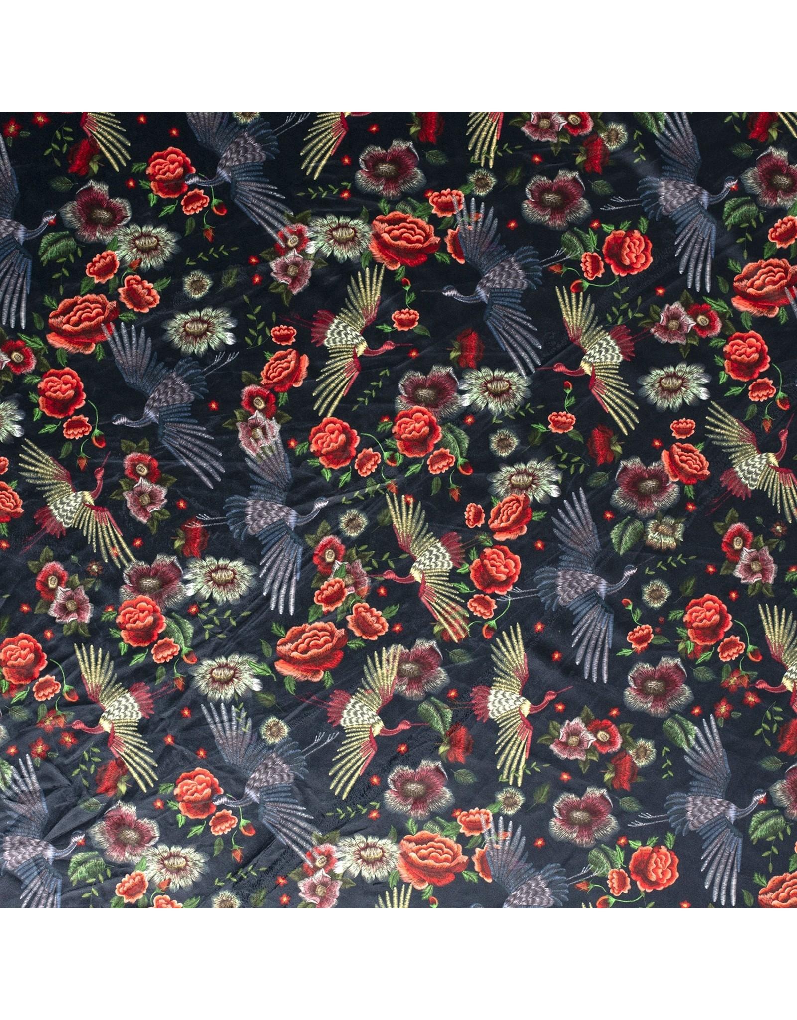 Nobodeco Home Fluweel stof Bloemen Zwart