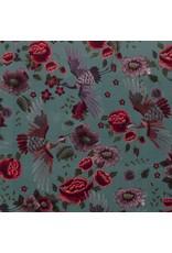 Nobodeco Home Fluweel stof Bloemen Mint