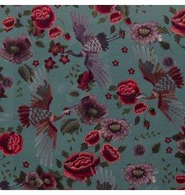 Nobodeco Home Velvet fabric Flowers Mint