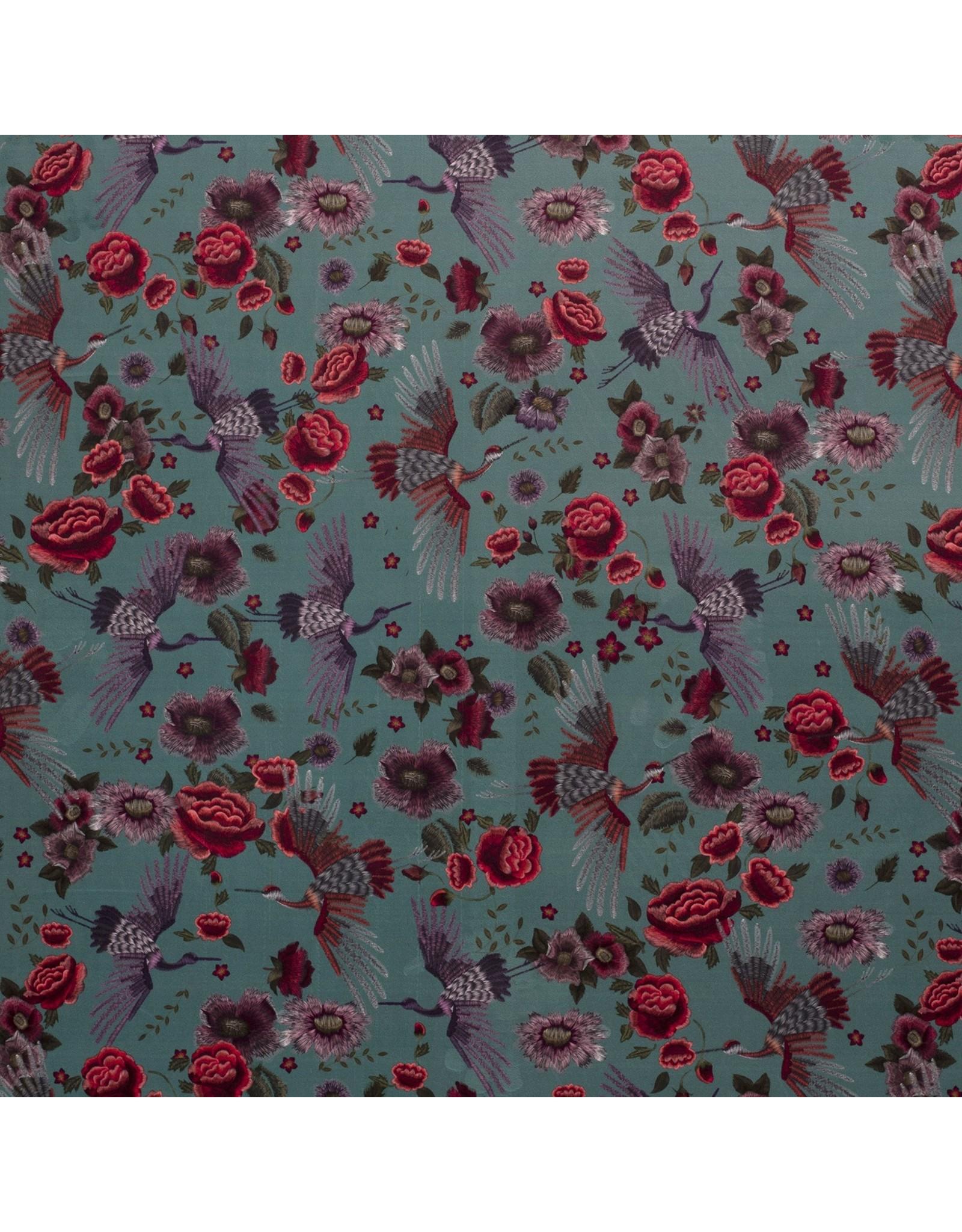 Nobodeco Home Samt stoff Blumen Minze