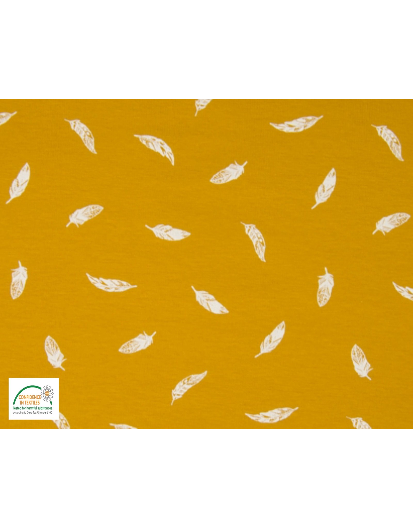 Qjutie Collection Cotton jersey feathers ocre