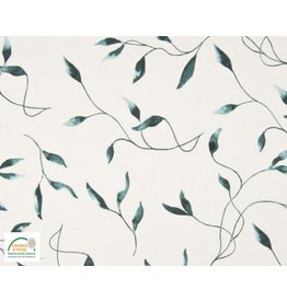 Qjutie Collection Cotton jersey leaves dusty green