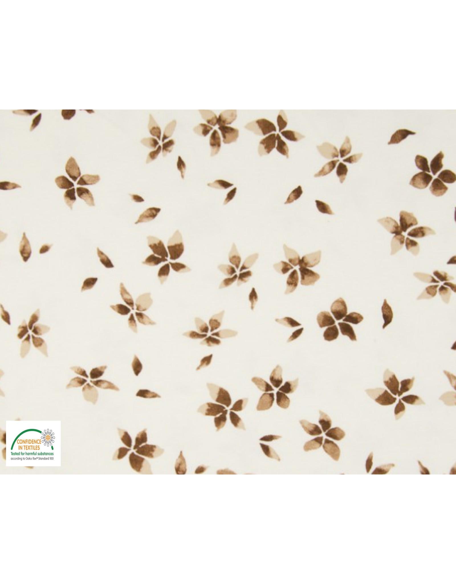 Qjutie Collection Cotton jersey flowers camel