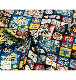 Megan Blue Fabrics Baumwolljersey gedruckt mandala