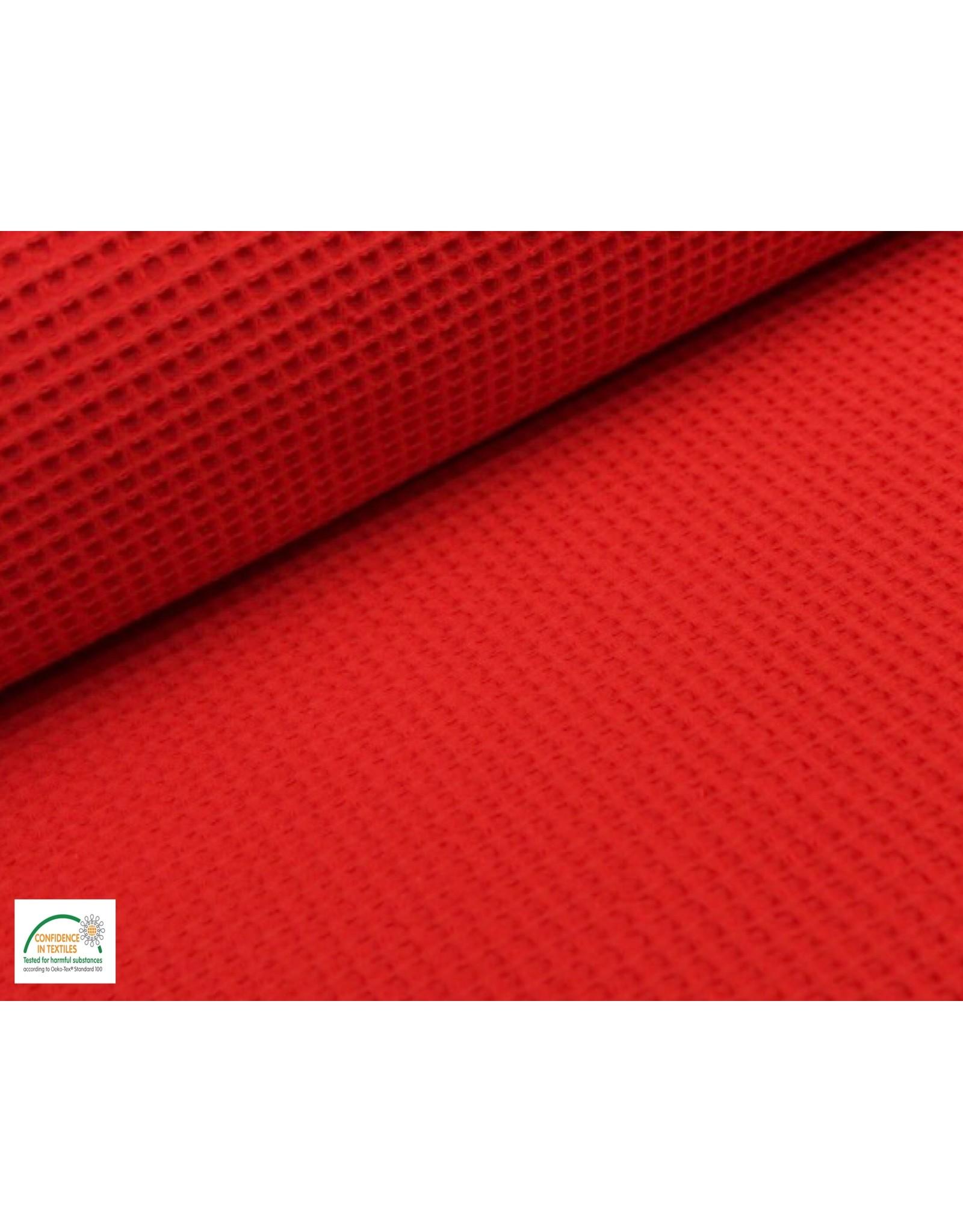 Waffelpiqué Baumwolle Rot