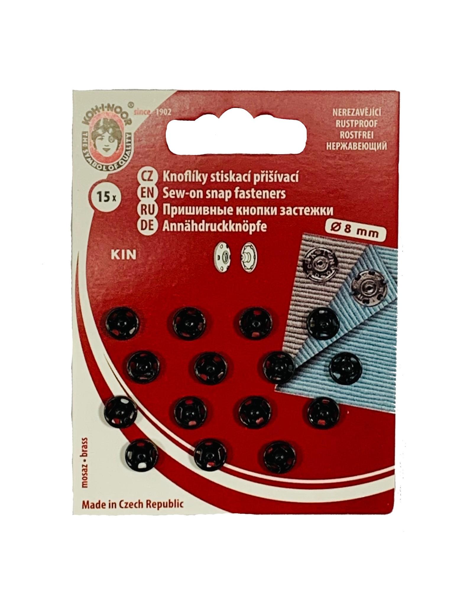 Sew On press studs 8 mm black