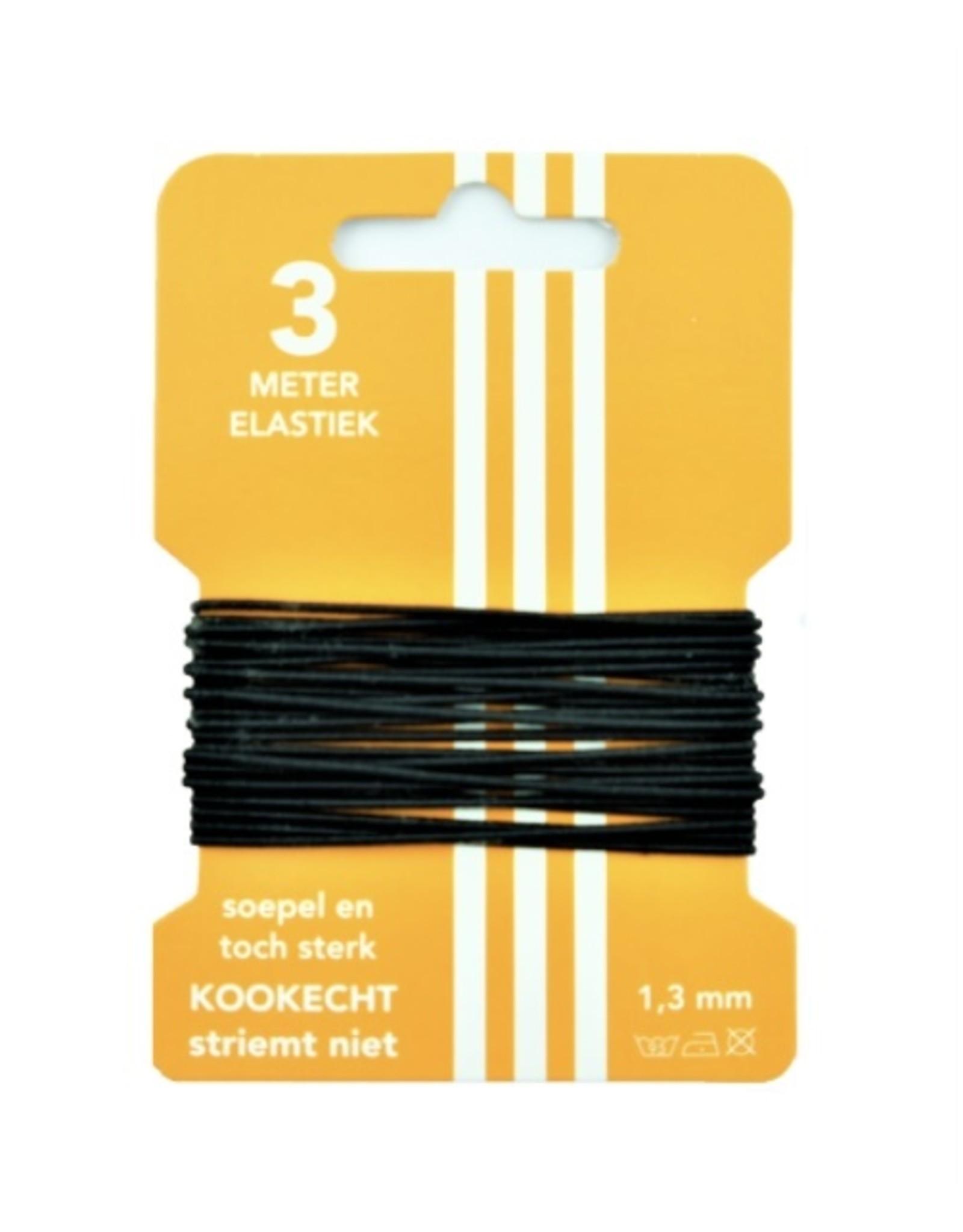 5 m Hut  elastisch schwarz  3 mm