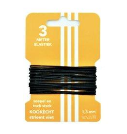 3 m Hut elastisch schwarz 3 mm